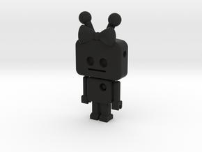 tiny Girl Robot pendant in Black Strong & Flexible