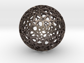 Islamic star ball with ten-pointed rosettes in Polished Bronzed Silver Steel