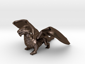 Inquisitive Dragon in Polished Bronze Steel