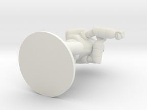 Combat Shell, 35mm, Flat Base in White Natural Versatile Plastic