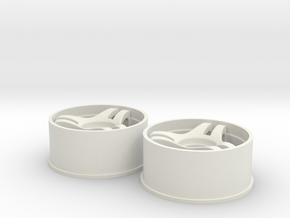 Split-3 Front 20mm Mini-Z Wheel in White Natural Versatile Plastic
