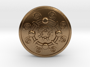 Iron Banded Shield in Natural Brass