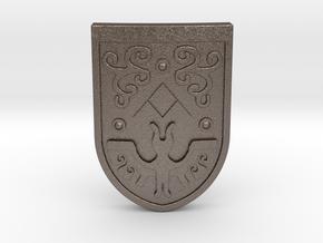 Toon Hero's Shield in Polished Bronzed Silver Steel
