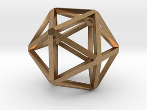 Icosahedron Thinner 25mm in Natural Brass