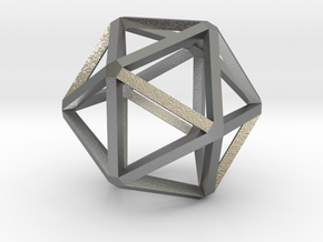 Icosahedron Thinner 25mm in Natural Silver