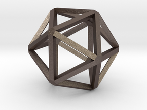 Icosahedron Thinner 25mm in Polished Bronzed Silver Steel