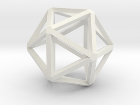 Icosahedron Thinner 25mm in White Natural Versatile Plastic
