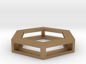 Simple Hexagon Pendant in Matte Gold Steel