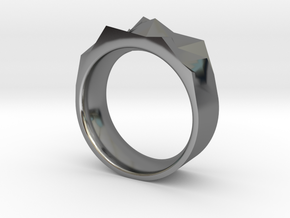 Triangulated Ring - 21mm in Fine Detail Polished Silver
