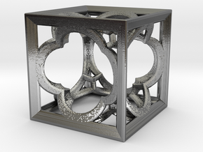 Cubic Fractal K33 small in Polished Silver