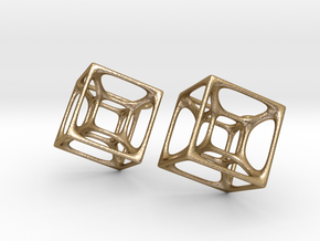 Hypercube Earrings in Polished Gold Steel