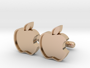 Apple Cufflink in 14k Rose Gold