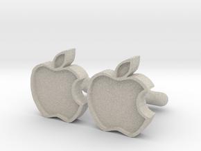 Apple Cufflink in Natural Sandstone