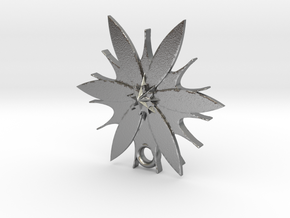 Passion Flower Pendant in Natural Silver