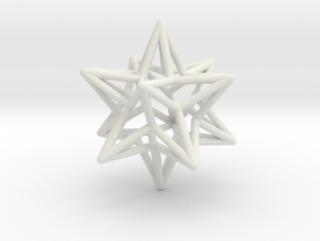 Stellated Dodecahedron Star Earring in White Natural Versatile Plastic