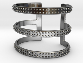 Rows of Rivets Cuff in Polished Silver