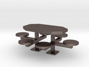 scale 1:24 Picnic Table in Polished Bronzed Silver Steel