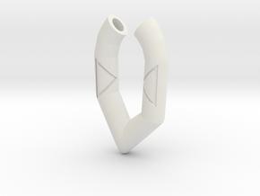 Pendant- Runestone Small in White Natural Versatile Plastic