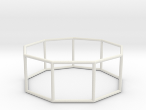 nonagonal prism 70mm in White Strong & Flexible