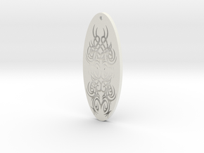 WhiteHawk Tribal Pendant 4 in White Strong & Flexible