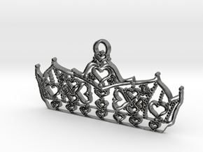 Queen of Hearts crown tiara charm or pendant 2mm t in Natural Silver