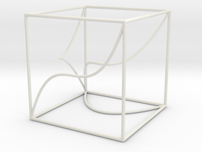 Space Curve in Cube Exhibit Size in White Natural Versatile Plastic
