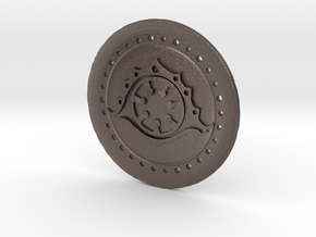 The Chroniclers Coin in Polished Bronzed Silver Steel