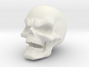 1 Inch Evil Skull in White Strong & Flexible