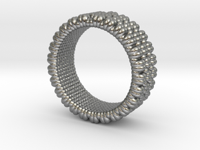 Pebble Ring - Checkered Pattern 1 (19mm) in Natural Silver