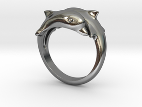Dolphins Ring  in Polished Silver