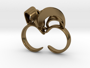 Ribbon Double Ring 8/9 in Polished Bronze
