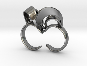Ribbon Double Ring 8/9 in Polished Silver