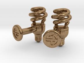 CFL Bulb Cufflinks in Natural Brass