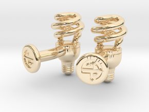 CFL Bulb Cufflinks in 14K Yellow Gold
