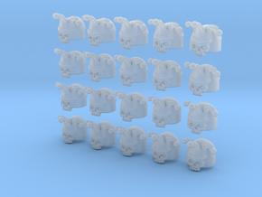 20 28mm Custom Large Shoulder Pad 3D Jester Skull in Smooth Fine Detail Plastic