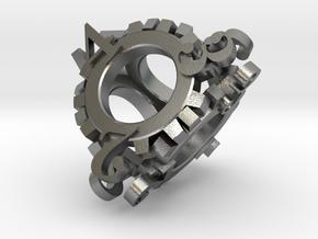 Steampunk Gear d4 in Natural Silver