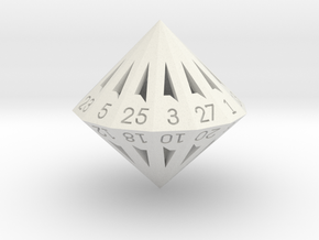 28 Sided Die - Large in White Strong & Flexible
