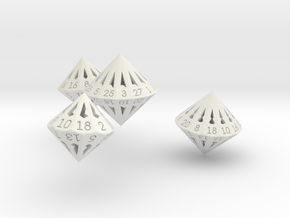 Regular Dipyramidal Dice Set in White Natural Versatile Plastic