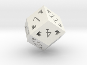 Rhombic 12 Sided Die - Large in White Natural Versatile Plastic
