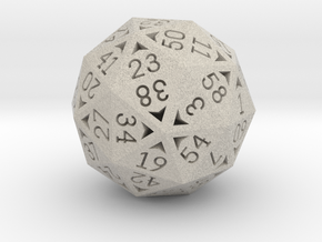 60 Sided Die - Small in Natural Sandstone