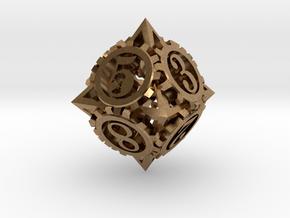 Steampunk Gear d8 in Natural Brass