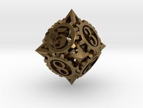 Steampunk Gear d8 in Natural Bronze