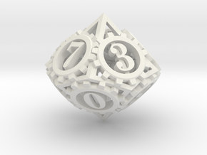 Steampunk Gear d10 in White Natural Versatile Plastic