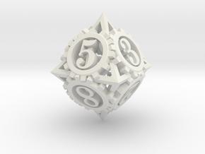 Steampunk Gear d8 in White Natural Versatile Plastic