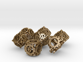 Steampunk Gear Dice Set in Polished Gold Steel