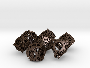 Steampunk Gear Dice Set in Polished Bronze Steel