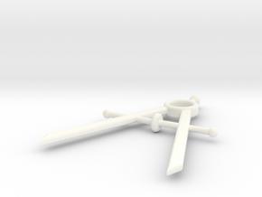 Mini Drafting Compass Pendant in White Processed Versatile Plastic