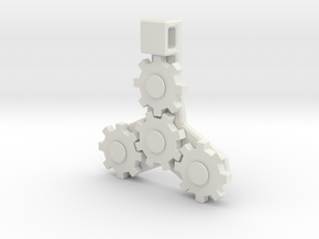 Gear Pendant in White Strong & Flexible