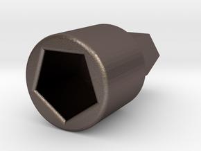 Hario Mini Mill Slim drill adapter v2.0 in Polished Bronzed Silver Steel