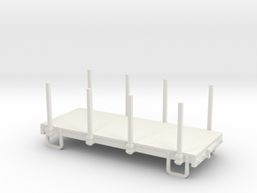 On30 14ft 4w Flatcar with stakes  in White Natural Versatile Plastic